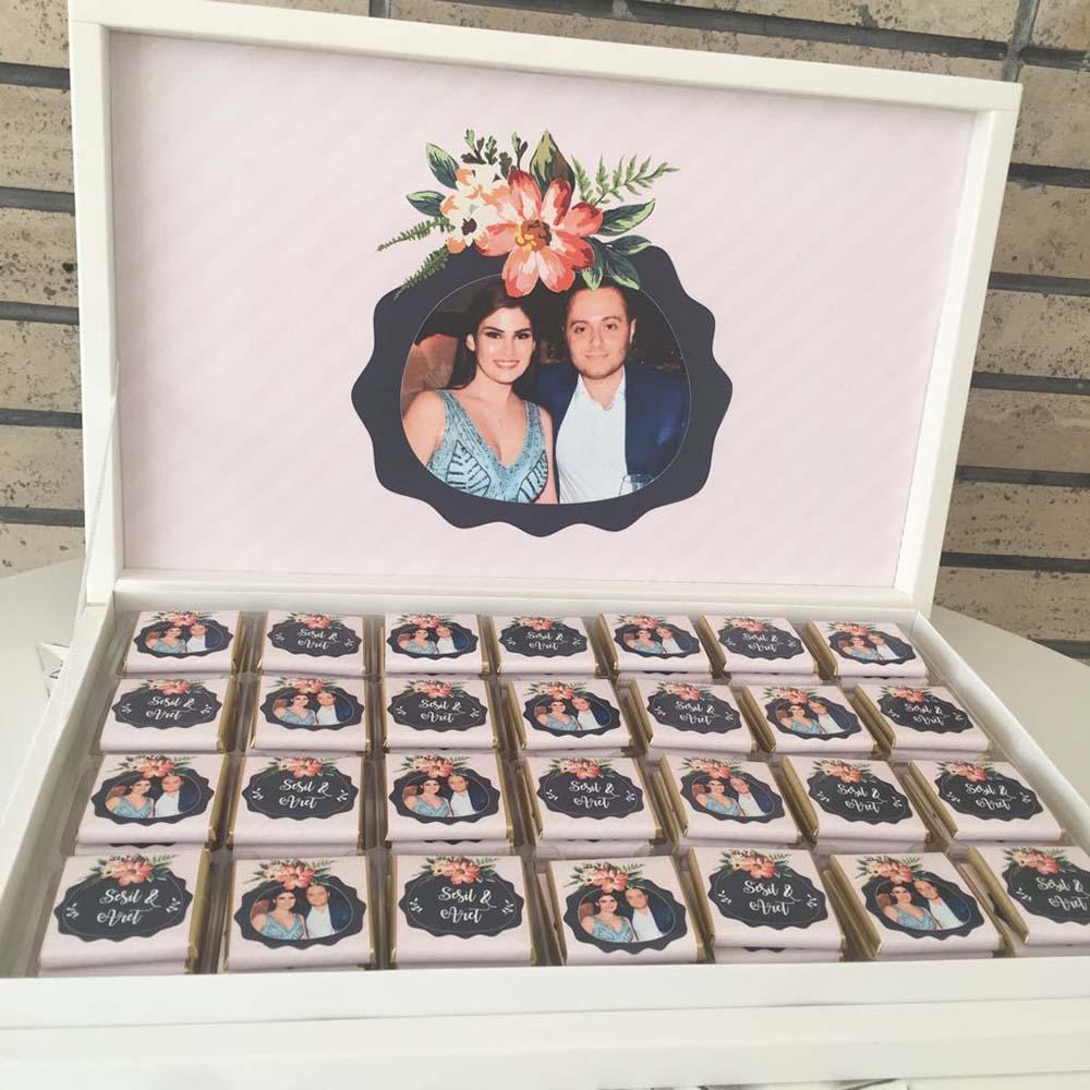 Fotoğraflı Söz Nişan Çikolatası - Floral