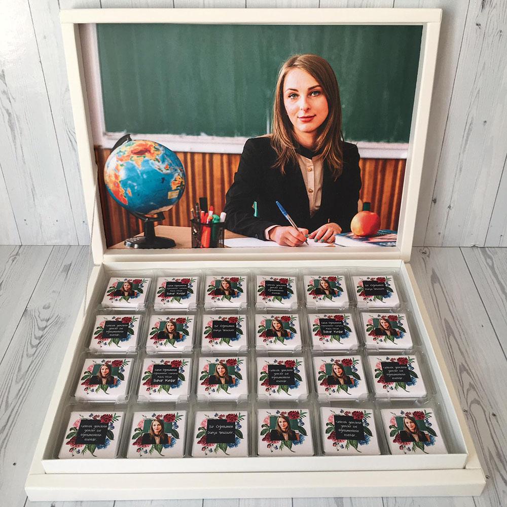 Öğretmenler Günü Çikolatası-Çiçekli
