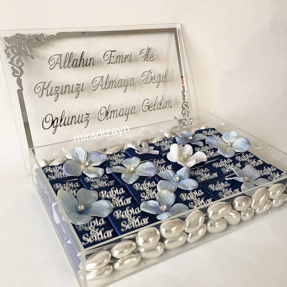pleksili gümüş kutu kız isteme çikolatası