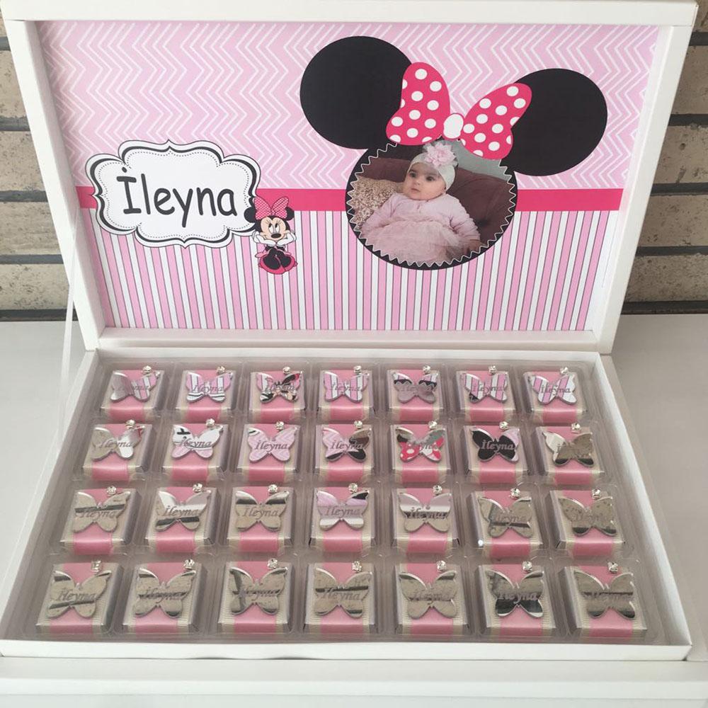Bebek Çikolatası-Pleksi Aynalı-Minnie Mouse Konsept