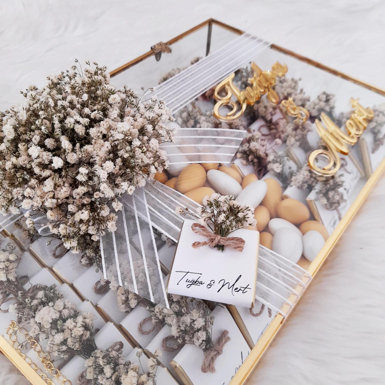 Kız isteme çikolatası, Kuru çiçekli, Cam kutulu, Söz nişan çikolatası, İsteme çikolatası