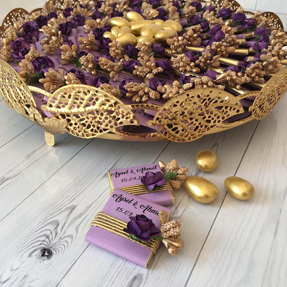 Tepsili Kız İsteme Çikolatası Altın-Mor Çiçekli