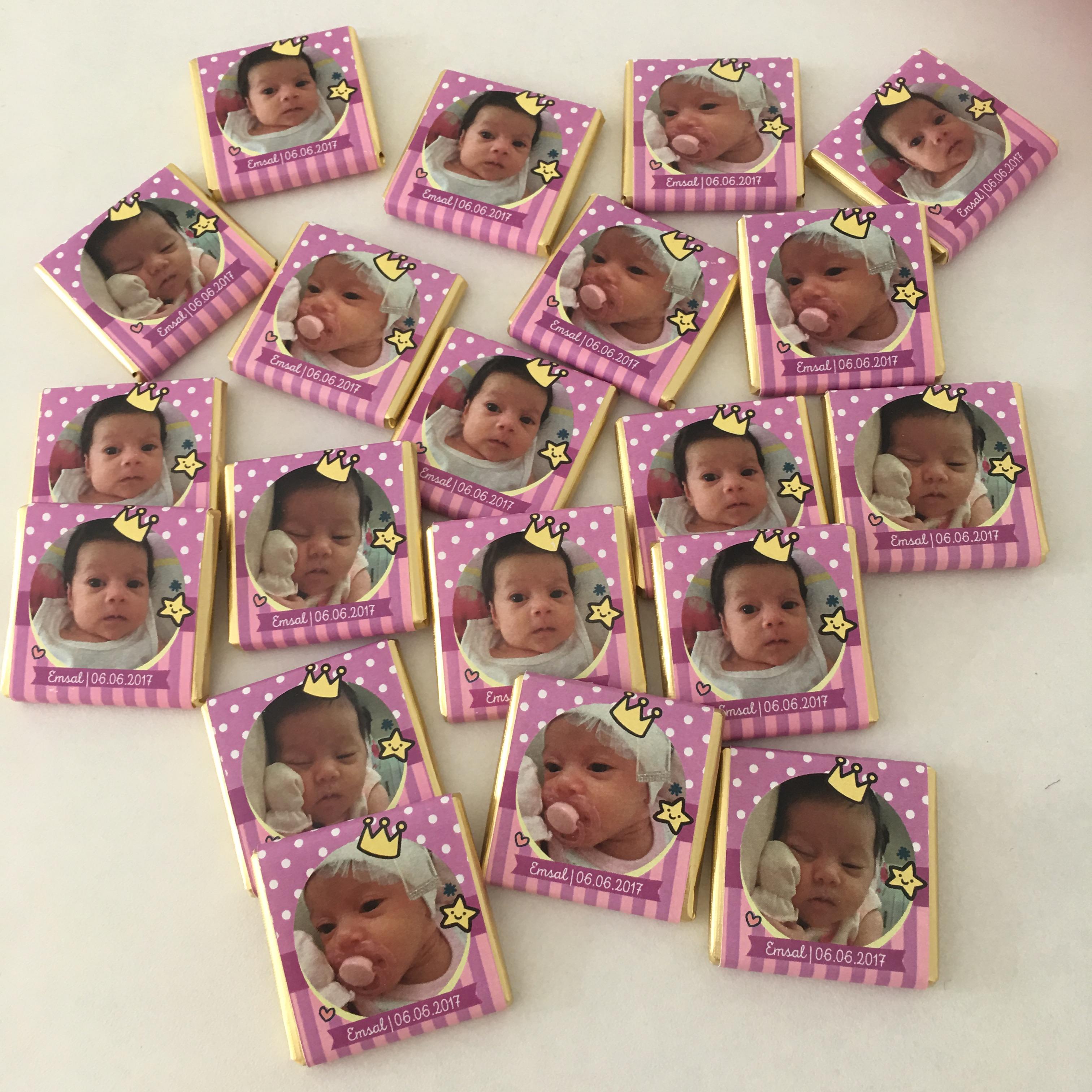 Fotoğraflı Kız Bebek Çikolatası-Dökme