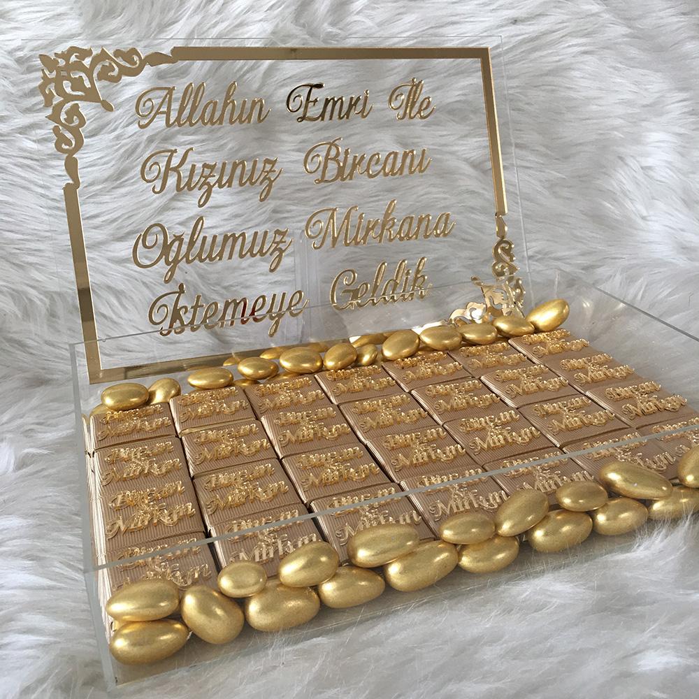 Pleksili kutulu kız isteme çikolatası