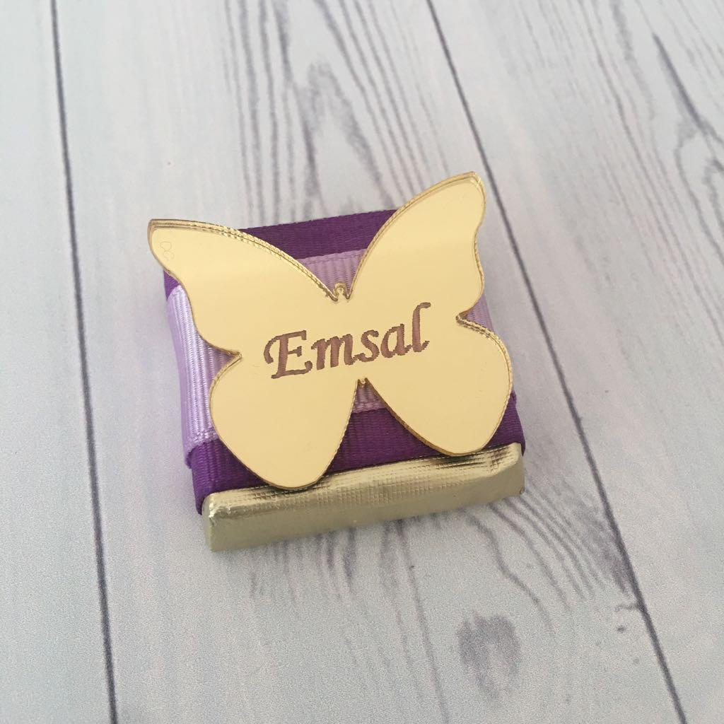 Bebek Çikolatası-Pleksi Aynalı Kelebek