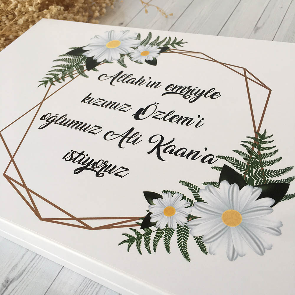 İsimli Söz Nişan Çikolatası-Geometrik Papatya